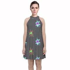 Random Doodle Pattern Star Velvet Halter Neckline Dress
