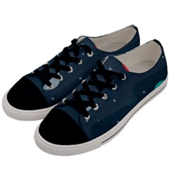 Space Pelanet Galaxy Comet Star Sky Blue Men s Low Top Canvas Sneakers by Mariart