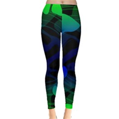 Spectrum Sputnik Space Blue Green Leggings  by Mariart