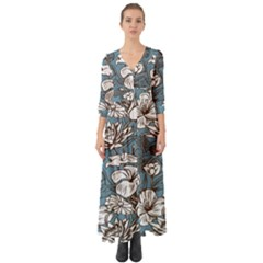 Star Flower Grey Blue Beauty Sexy Button Up Boho Maxi Dress