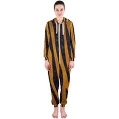 Skin4 Black Marble & Yellow Grunge (r) Hooded Jumpsuit (ladies)
