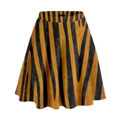 Skin4 Black Marble & Yellow Grunge (r) High Waist Skirt by trendistuff