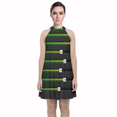 Stock Illustration Rendering Seven Volume Velvet Halter Neckline Dress  by Mariart