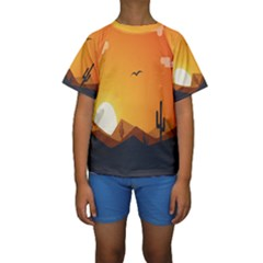 Sunset Natural Sky Kids  Short Sleeve Swimwear by Mariart