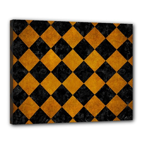 Square2 Black Marble & Yellow Grunge Canvas 20  X 16  by trendistuff