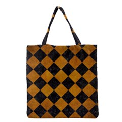 Square2 Black Marble & Yellow Grunge Grocery Tote Bag