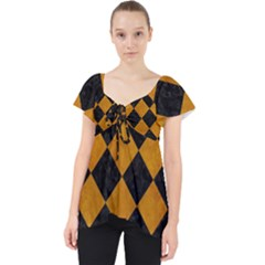 Square2 Black Marble & Yellow Grunge Lace Front Dolly Top by trendistuff