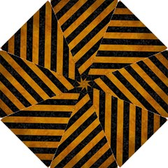 Stripes3 Black Marble & Yellow Grunge (r) Hook Handle Umbrellas (small) by trendistuff