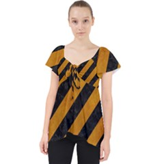 Stripes3 Black Marble & Yellow Grunge (r) Lace Front Dolly Top by trendistuff