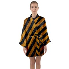 Stripes3 Black Marble & Yellow Grunge (r) Long Sleeve Kimono Robe
