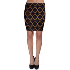 Tile1 Black Marble & Yellow Grunge (r) Bodycon Skirt