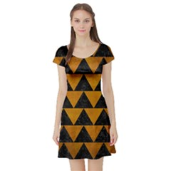 Triangle2 Black Marble & Yellow Grunge Short Sleeve Skater Dress