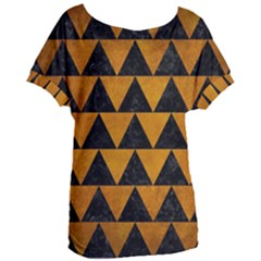Triangle2 Black Marble & Yellow Grunge Women s Oversized Tee