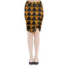 Triangle2 Black Marble & Yellow Grunge Midi Wrap Pencil Skirt