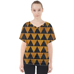 Triangle2 Black Marble & Yellow Grunge V Neck Dolman Drape Top