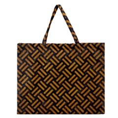 Woven2 Black Marble & Yellow Grunge (r) Zipper Large Tote Bag by trendistuff