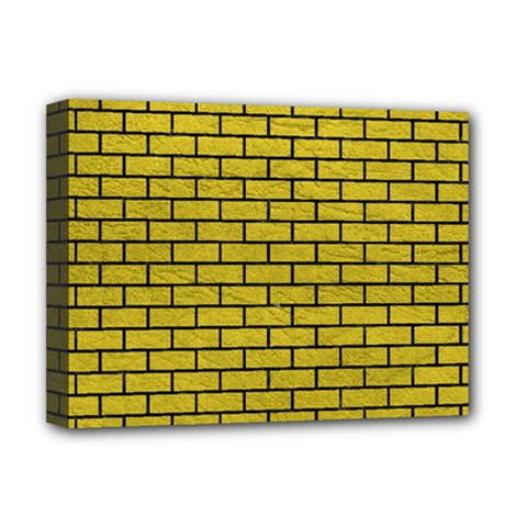 Brick1 Black Marble & Yellow Leather Deluxe Canvas 16  X 12