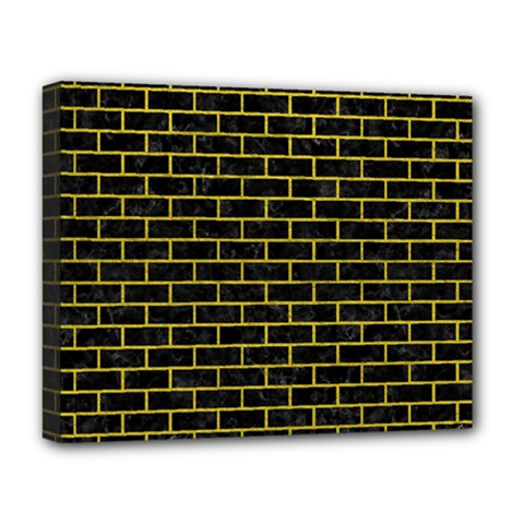 Brick1 Black Marble & Yellow Leather (r) Deluxe Canvas 20  X 16   by trendistuff