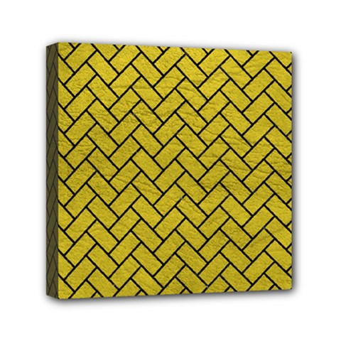 Brick2 Black Marble & Yellow Leather Mini Canvas 6  X 6  by trendistuff