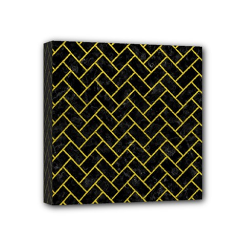 Brick2 Black Marble & Yellow Leather (r) Mini Canvas 4  X 4  by trendistuff