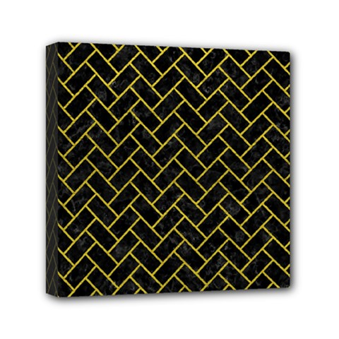 Brick2 Black Marble & Yellow Leather (r) Mini Canvas 6  X 6  by trendistuff