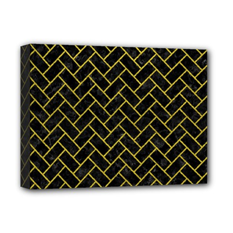 Brick2 Black Marble & Yellow Leather (r) Deluxe Canvas 16  X 12