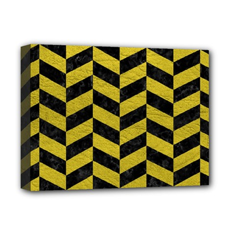 Chevron1 Black Marble & Yellow Leather Deluxe Canvas 16  X 12   by trendistuff