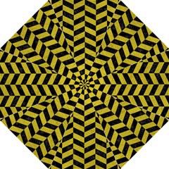 Chevron1 Black Marble & Yellow Leather Hook Handle Umbrellas (large) by trendistuff