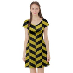 Chevron1 Black Marble & Yellow Leather Short Sleeve Skater Dress