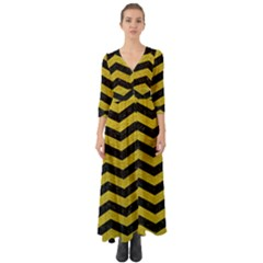 Chevron3 Black Marble & Yellow Leather Button Up Boho Maxi Dress