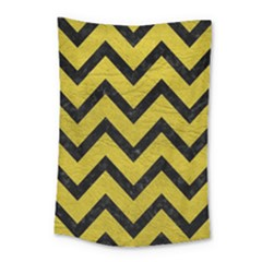 Chevron9 Black Marble & Yellow Leather Small Tapestry