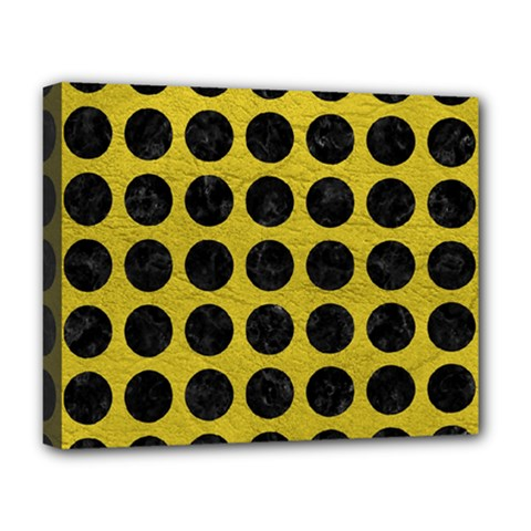 Circles1 Black Marble & Yellow Leather Deluxe Canvas 20  X 16   by trendistuff