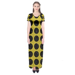 Circles1 Black Marble & Yellow Leather Short Sleeve Maxi Dress