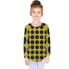 Circles1 Black Marble & Yellow Leather Kids  Long Sleeve Tee