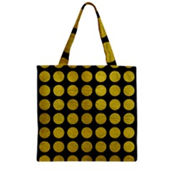 Circles1 Black Marble & Yellow Leather (r) Zipper Grocery Tote Bag by trendistuff