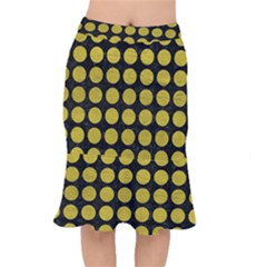 Circles1 Black Marble & Yellow Leather (r) Mermaid Skirt by trendistuff