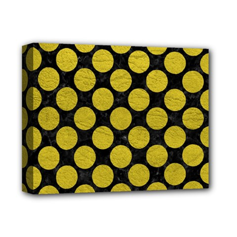 Circles2 Black Marble & Yellow Leather (r) Deluxe Canvas 14  X 11  by trendistuff