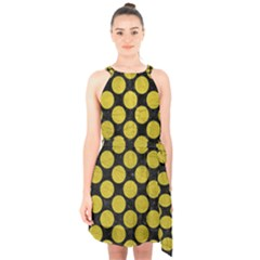 Circles2 Black Marble & Yellow Leather (r) Halter Collar Waist Tie Chiffon Dress
