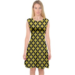 Circles3 Black Marble & Yellow Leather Capsleeve Midi Dress