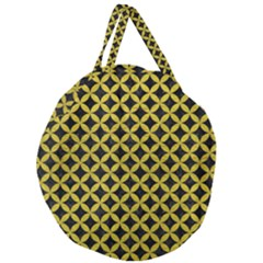 Circles3 Black Marble & Yellow Leather (r) Giant Round Zipper Tote by trendistuff