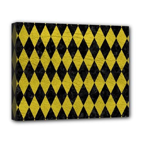 Diamond1 Black Marble & Yellow Leather Deluxe Canvas 20  X 16   by trendistuff
