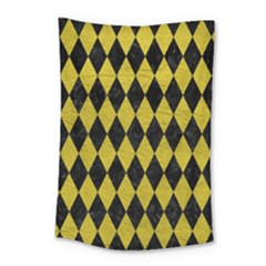 Diamond1 Black Marble & Yellow Leather Small Tapestry