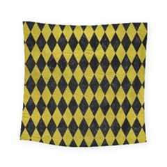 Diamond1 Black Marble & Yellow Leather Square Tapestry (small) by trendistuff