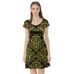 Damask1 Black Marble & Yellow Leather (r) Short Sleeve Skater Dress