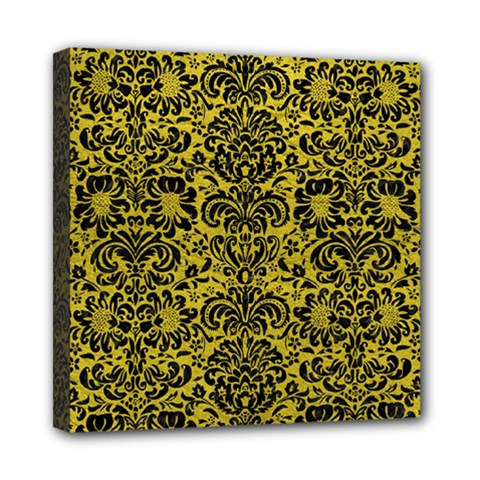 Damask2 Black Marble & Yellow Leather Mini Canvas 8  X 8  by trendistuff