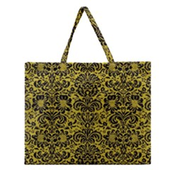 Damask2 Black Marble & Yellow Leather Zipper Large Tote Bag by trendistuff