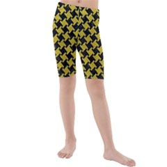Houndstooth2 Black Marble & Yellow Leather Kids  Mid Length Swim Shorts by trendistuff