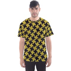 Houndstooth2 Black Marble & Yellow Leather Men s Sports Mesh Tee