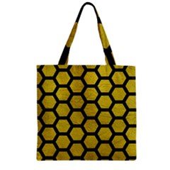 Hexagon2 Black Marble & Yellow Leather Zipper Grocery Tote Bag by trendistuff