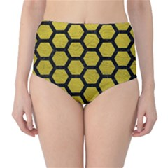 Hexagon2 Black Marble & Yellow Leather High Waist Bikini Bottoms by trendistuff